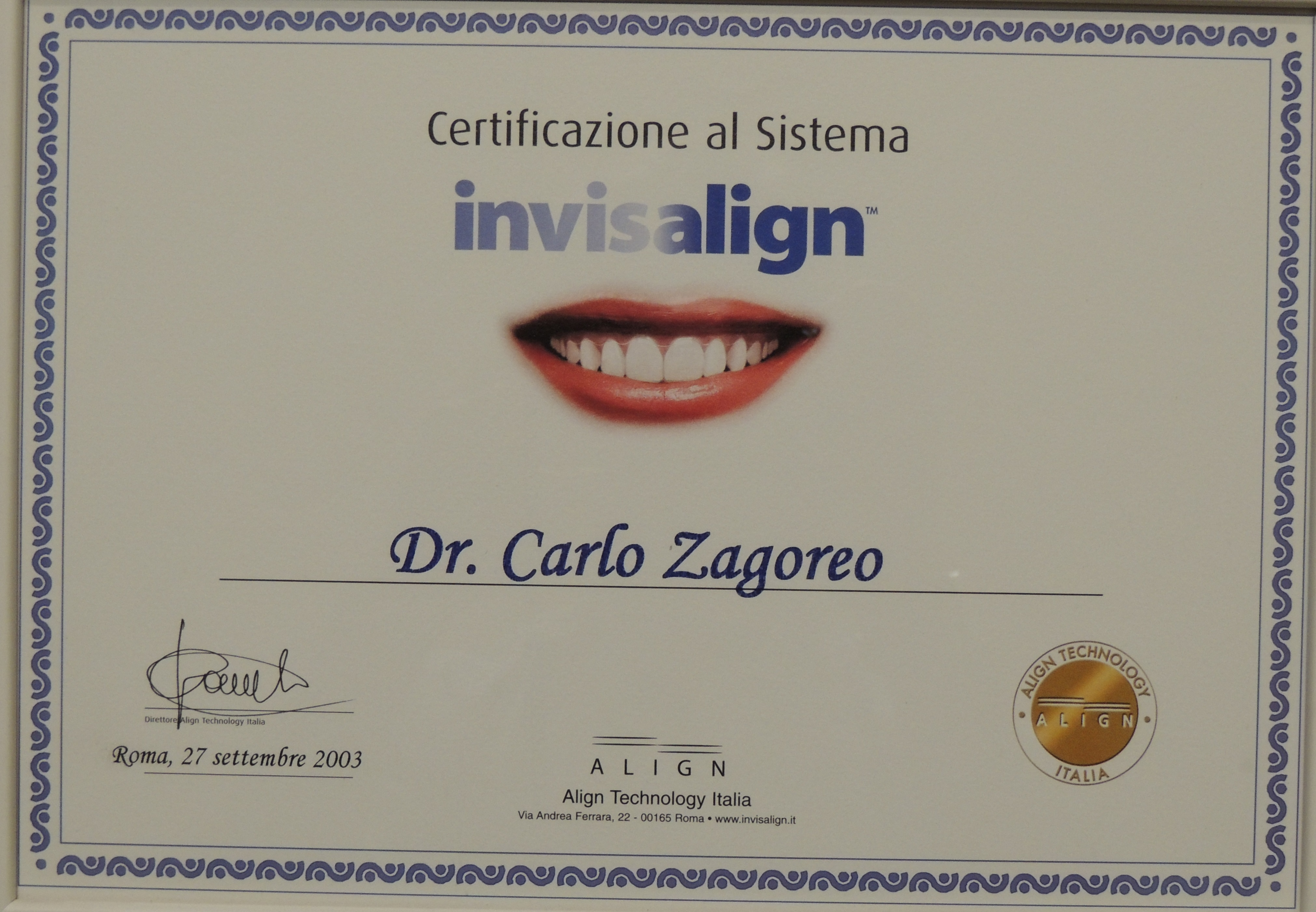 Certificazione Invisalign 2003